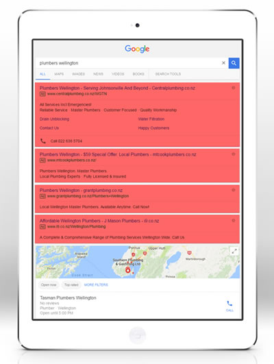 Example Google mobile device search result